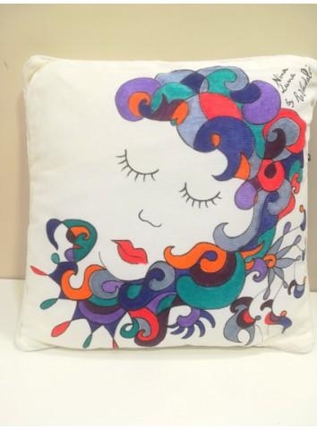"Cuscino ""Nina Luna"" dipinto a mano by Amande"