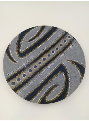 Piatto in ceramica/sabbia dipinto a mano