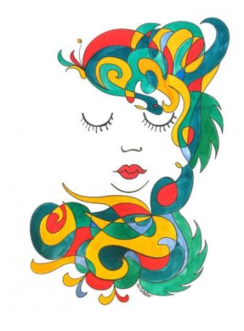 """Stampa artistica """"Nina Luna sogno"""" - da disegno originale di Ro.Vadalà"""