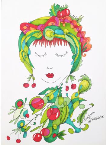 Stampa artistica Nina Luna ciliegie - da disegno originale di Ro.Vadalà