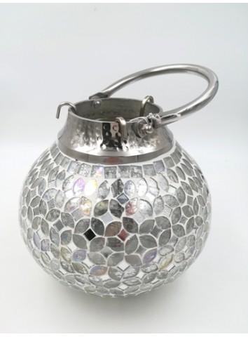 Lanterna mosaico vetro/argento J-Line