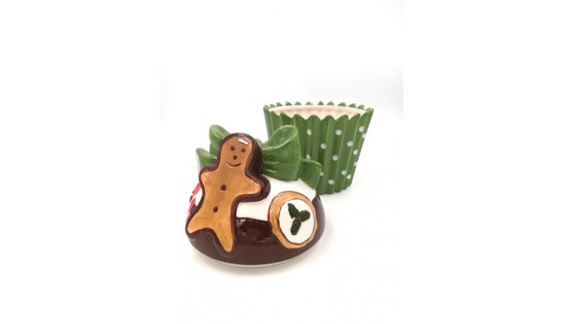 Biscottiera Natale ceramica verde