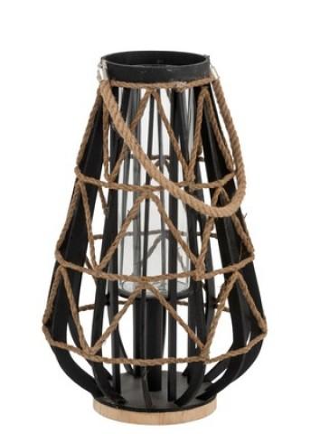 Lanterna Bambu, Vetro e Corda (nero/natural) -J-Line
