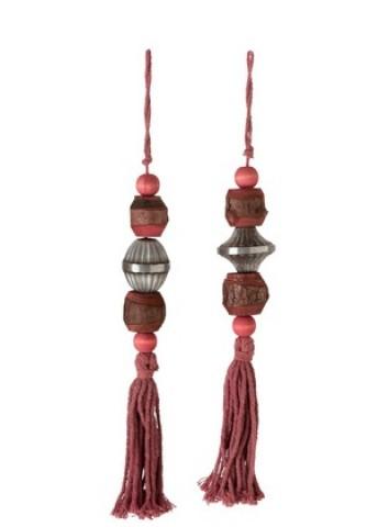 Nappa Decorativa Legno/Cotone Rosso - J-Line