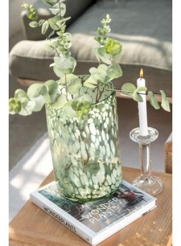 Vaso portacandele vetro bianco/verde - J-Line