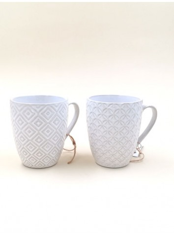 Set 2 Tazzine caffè bianche rilievo