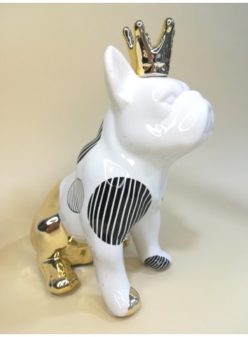 Bulldog in porcellana bianco oro
